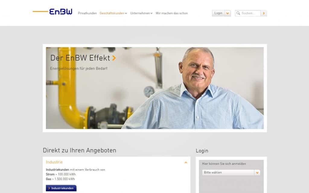 Die Webseite der EnBW