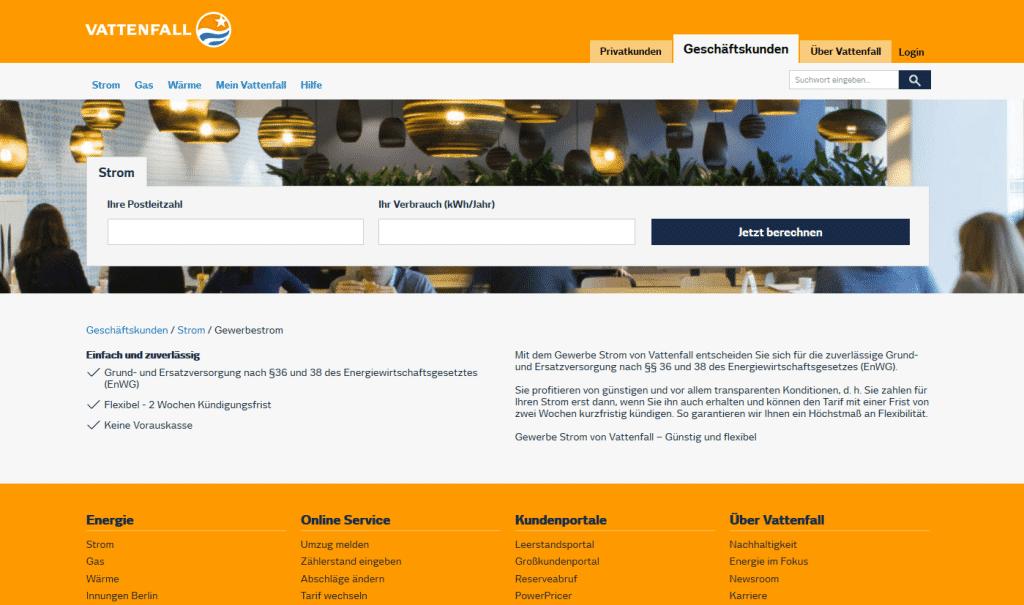 Vattenfall Gewerbestrom Webseite
